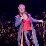 Eddie Izzard on stage for the sexy tour.