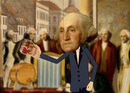 George takes a drink.